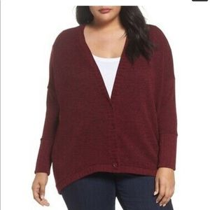 Sejour Wine/Cranberry High/Low Cardigan Size 3X